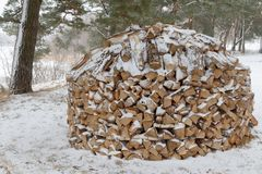 整洁地被堆积的堆木柴在冬天 免版税库存照片