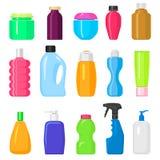 整理家事的家庭清洁装瓶组装模板化学制品液体国内可变的擦净剂模板传染媒介 向量例证