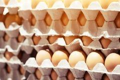 整蛋的关闭在箱子 未加工的鸡鸡蛋许多 r 库存照片