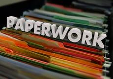 文书工作处理屑子的文件夹形式 库存图片