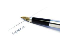文件准备好的签名 免版税库存图片