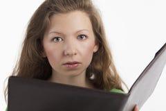 文件夹妇女年轻人 库存照片
