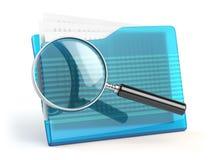 文件查寻concep 文件夹和寸镜或者放大镜 免版税库存照片