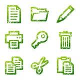 文件绿色grunge图标 免版税库存图片
