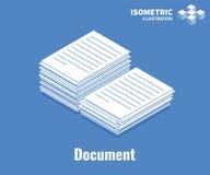 文件象 堆文件,堆工商业票据 在蓝色背景隔绝的传染媒介3D例证 图库摄影
