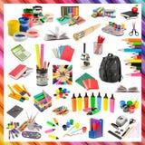 文具和学校用品的汇集 免版税库存照片