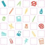 文具样式无缝的背景  五颜六色的学校题材 库存图片