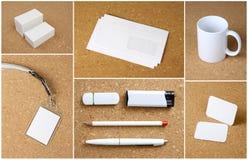 文具的白色收藏在corkboard背景的 免版税库存图片