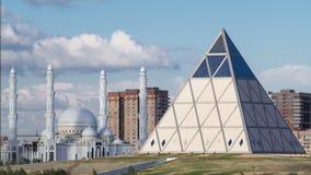 文化中心和庄严清真寺Hazret苏丹阿斯塔纳timelapse的 股票视频