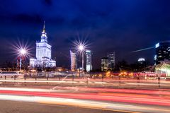 文化和科学宫殿在华沙,波兰的中心 免版税库存照片