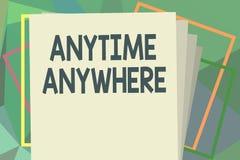 文字任何地方任何时候笔记陈列 陈列企业的照片说您能做某事在每地方和片刻 库存例证