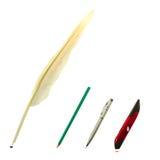 文字文本对象:笔,铅笔,圆珠笔,老鼠 免版税库存图片