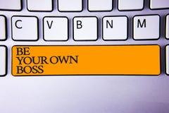文字笔记显示是您自己的上司 企业照片陈列的起动公司做自由职业者的工作企业家起动投资Keybo 图库摄影