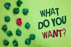 文字笔记陈列什么您想要问题 企业照片陈列告诉我您的欲望请求要求志向橄榄col 免版税库存图片