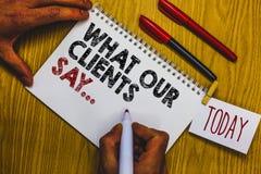 文字笔记陈列什么我们的客户说 陈列您的用户反映的企业照片使用民意测验或书面纸人hol 图库摄影
