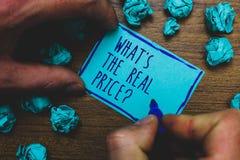 文字笔记陈列什么s是真实的价格问题 企业照片陈列给有雾的物产或的事务的实际价值 库存图片