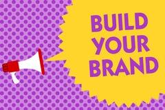 文字笔记陈列修造您的品牌 企业照片陈列做一个商业身分营销广告多行的文本 向量例证