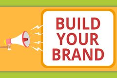 文字笔记陈列修造您的品牌 企业照片陈列做一个商业身分营销广告消息想法我 向量例证