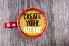 文字笔记陈列创造您的未来 书面的企业照片陈列的事业目标目标改善集合计划学会  免版税库存图片