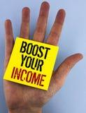 文字笔记陈列助力您的收入 企业照片陈列改进您的付款做自由职业者的半日工作书面的Improve 库存图片