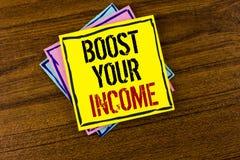 文字笔记陈列助力您的收入 企业照片陈列改进您的付款做自由职业者的半日工作书面的Improve 免版税库存照片