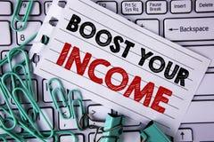 文字笔记陈列助力您的收入 企业照片陈列改进您的付款做自由职业者的半日工作书面的Improve 免版税库存图片