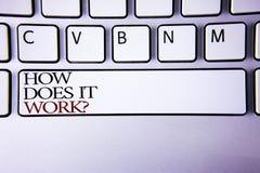 文字笔记陈列它怎么运作问题 企业照片陈列的询问设备或机器操作讲解writt 库存图片