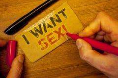 文字笔记陈列我想要性诱导电话 陈列企业的照片渴望性交ExcitementMan创造 免版税库存照片