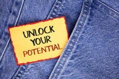 文字笔记陈列打开您的潜力 企业照片陈列显露天分开发能力展示个人技能writte 库存图片