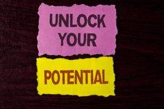 文字笔记陈列打开您的潜力 企业照片陈列显露天分开发能力展示个人技能writte 免版税库存照片