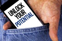文字笔记陈列打开您的潜力 企业照片陈列显露天分开发能力展示个人技能writte 免版税库存图片