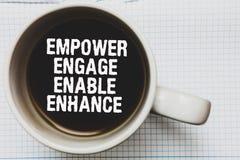 文字笔记陈列授权允诺使能提高 企业照片陈列的援权领导刺激订婚咖啡 图库摄影