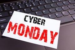 文字网络在办公室特写镜头做的星期一文本在便携式计算机键盘 零售店折扣工作的企业概念 图库摄影
