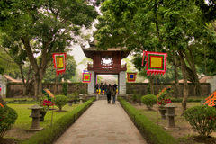 文学寺庙在河内 库存图片