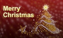 文本圣诞快乐和圣诞树 图库摄影