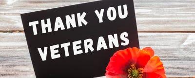 文本感谢您在黑板和红色鸦片写的退伍军人在土气木背景 钞票 库存图片