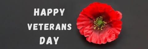 文本感谢您在黑板和红色鸦片写的退伍军人在土气木背景 Baner 免版税图库摄影