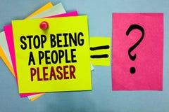 文本标志是陈列的中止人Pleaser 概念性照片做什么您喜欢其他人民想要明亮五颜六色stic不是的事 库存照片