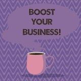 文本标志显示促进您的事务 改进企业成功成长杯子照片的某一措施概念性照片 库存例证