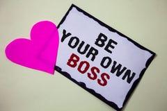 文本标志显示是您自己的上司 概念性照片起动公司做自由职业者的工作企业家起动投资牡鹿爱桃红色whi 库存图片