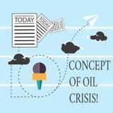 文本标志石油危机的陈列概念 下降更低的货币值信息的概念性照片石油价格和 向量例证