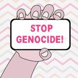 文本标志陈列中止种族灭绝 把结束放的概念性照片在显示上特写镜头杀害和暴行  皇族释放例证