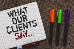 文本标志陈列什么我们的客户说 概念性照片您的使用民意测验或书面纸开放笔记本页的用户反映 库存照片