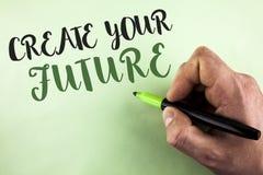 文本标志陈列创造您的未来 概念性人藏品写的照片事业目标目标改善集合计划学会 库存图片