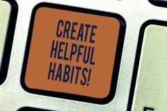 文本标志陈列创造有用的习性 概念性照片开发在每日依据键盘的有利定期行为 库存照片