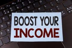 文本标志陈列助力您的收入 E 免版税库存图片