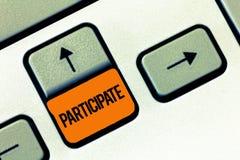 文本标志陈列参与 概念性照片参与或变得介入活动志愿者 库存照片
