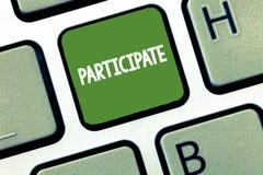 文本标志陈列参与 概念性照片参与或变得介入活动志愿者 库存图片