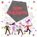 文本标志陈列威胁智力 概念性关于潜在的攻击人民的照片被分析的和被提炼的信息 库存例证