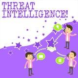 文本标志陈列威胁智力 概念性关于潜在的攻击的照片被分析的和被提炼的信息 向量例证